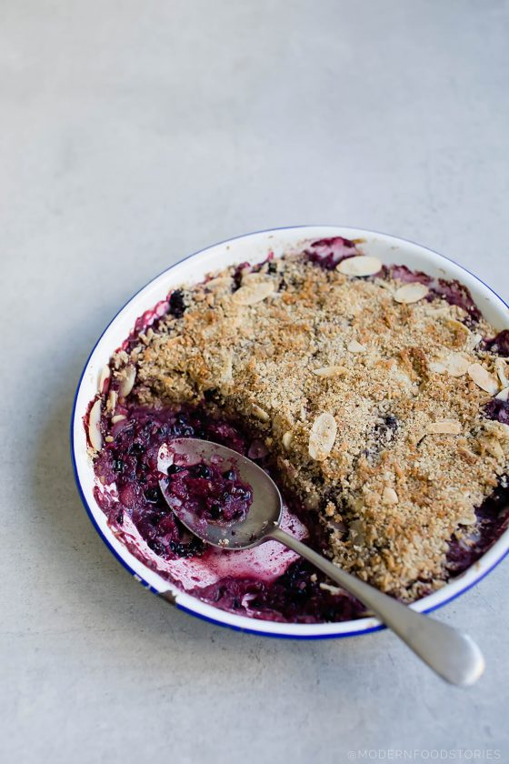 Paleo Apple and Blackberry Crumble