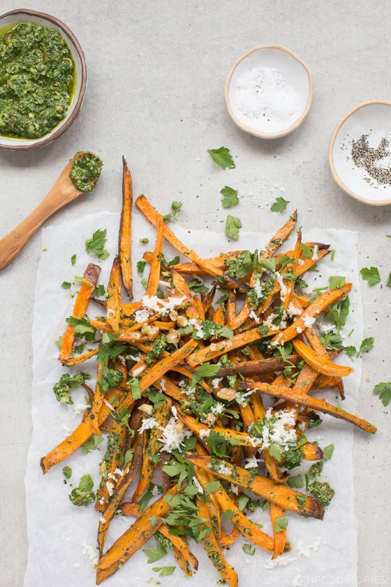 sweet-potato-fries-with-kale-watercress-and-walnut-pesto, baked sweet potato fries, sweet potato fries, sweet potato fries recipe, dairy free pesto, dairy free pesto recipe, kale pesto