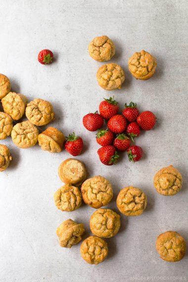 strawberry and coconut cream mini scones, strawberries and cream, grain free scones, sugar free scones, Paleo Crust, Modern Food Stories, low carb scones, grain free muffins