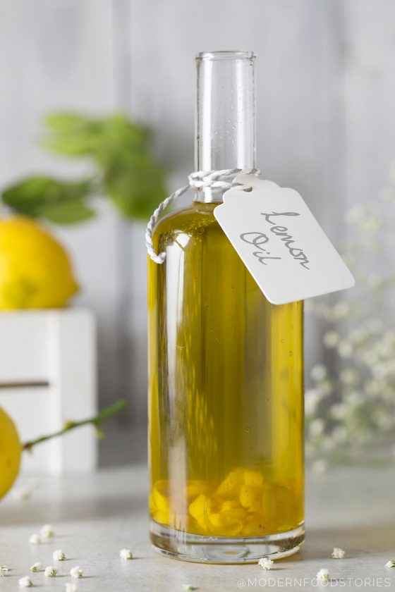 Lemon oil, homemade Christmas gifts, homemade infused oils, olive oil food photography, olive oil, Modern Food Stories, Paleo Crust