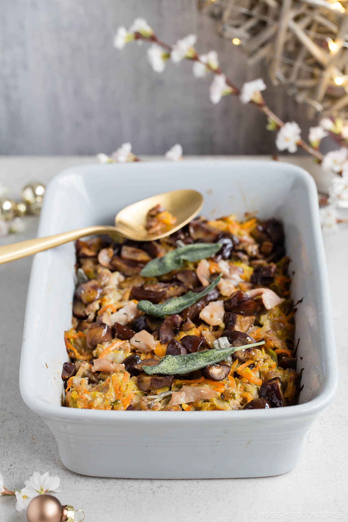 Keto stuffing, Paleo stuffing with pork and sage, grain free stuffing, stuffing recipe, pork and sage stuffing, healthy stuffing, Paleo Crust, Modern Food Stories, gluten free stuffing, Paleo Christmas recipes