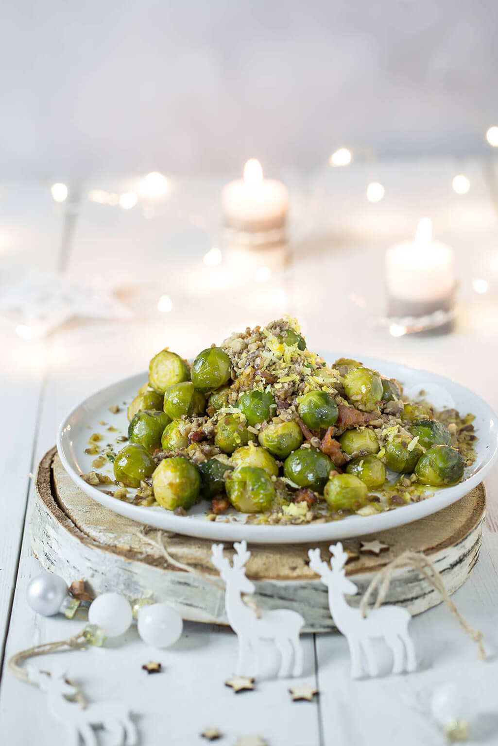 sprout recipe, roasted sprouts, Paleo Crust, roasted sprouts with chorizo, sprouts with chestnuts recipe, roasted sprouts recipe, Christmas side recipes, Modern Food Stories, food photography, sprouts food photography