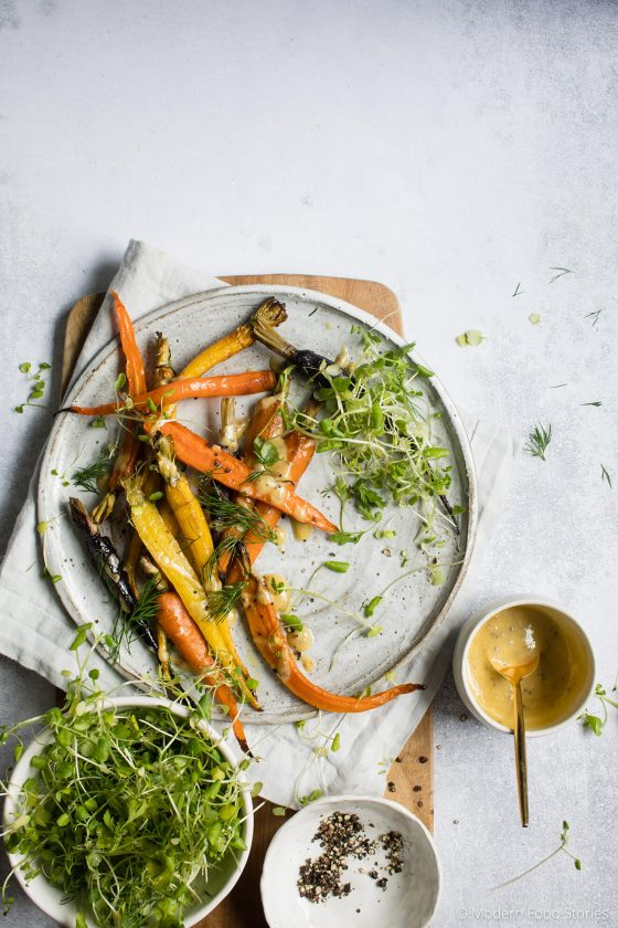 carrots, carrot fries, roasted carrot recipe, low carb fries, low carb recipes, vegetable fries, roasted carrots with tahini dressing, Paleo recipes, Keto recipes, Paleo sides, Keto sides, Whole30 recipes, Modern Food Stories, Paleo Crust