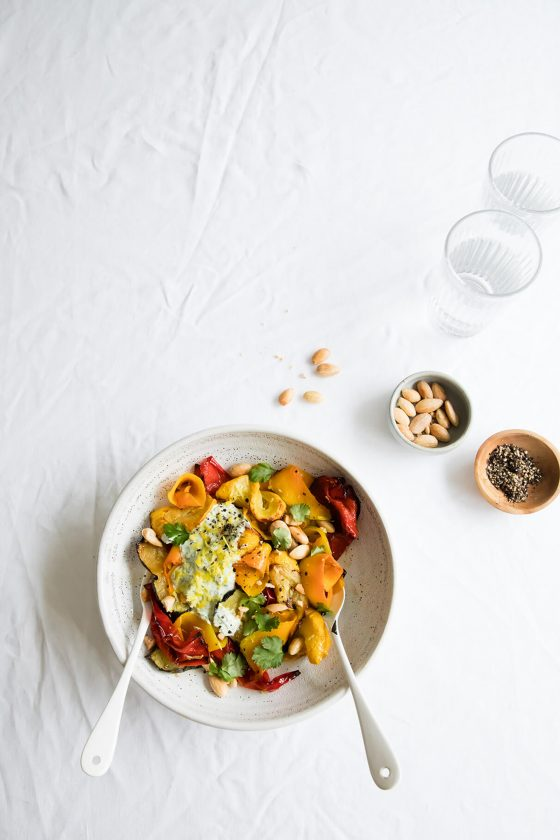 roasted red pepper, courgette and squash salad