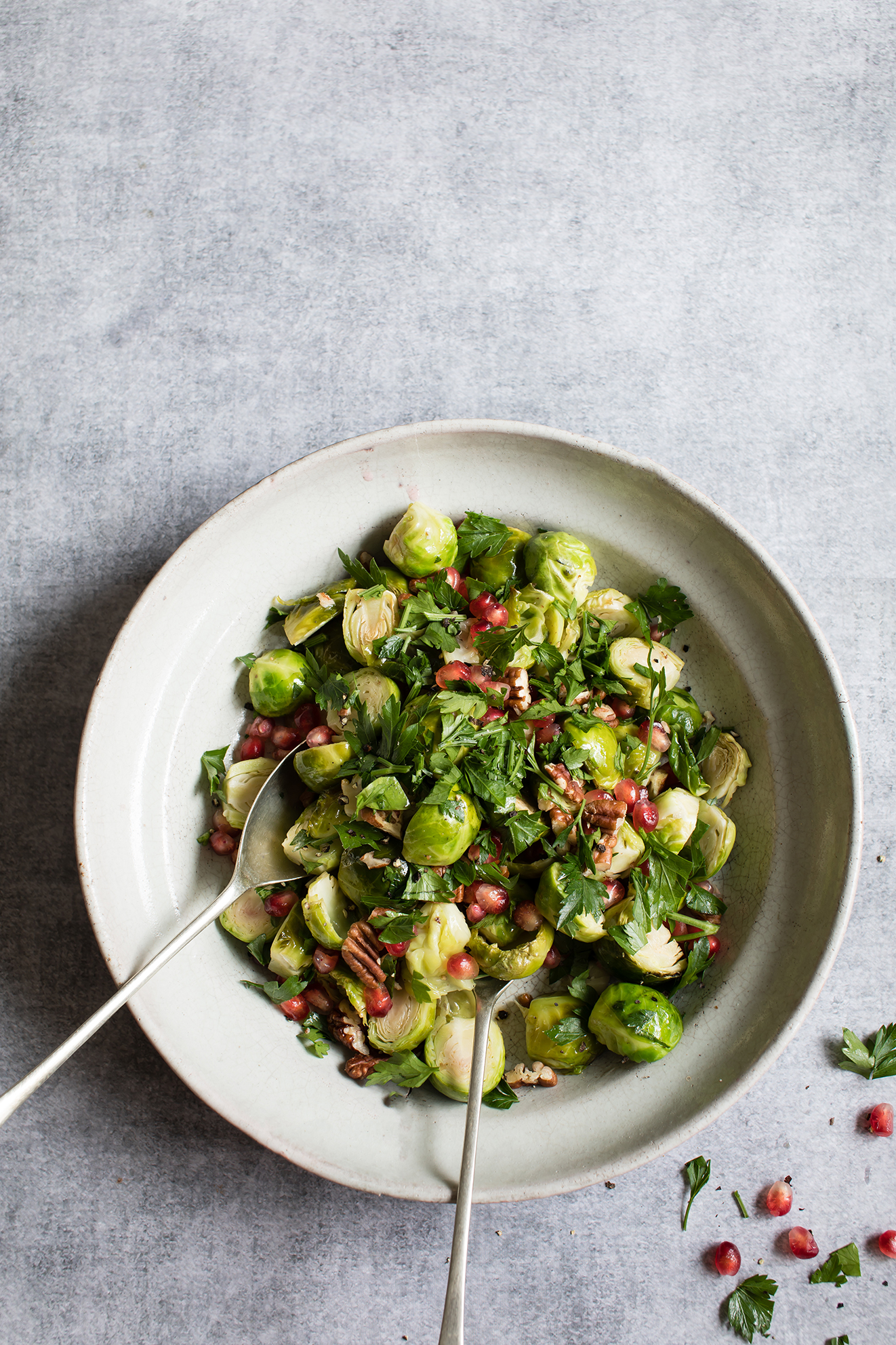 Roasted Sprouts, Pecans and Pomegranate