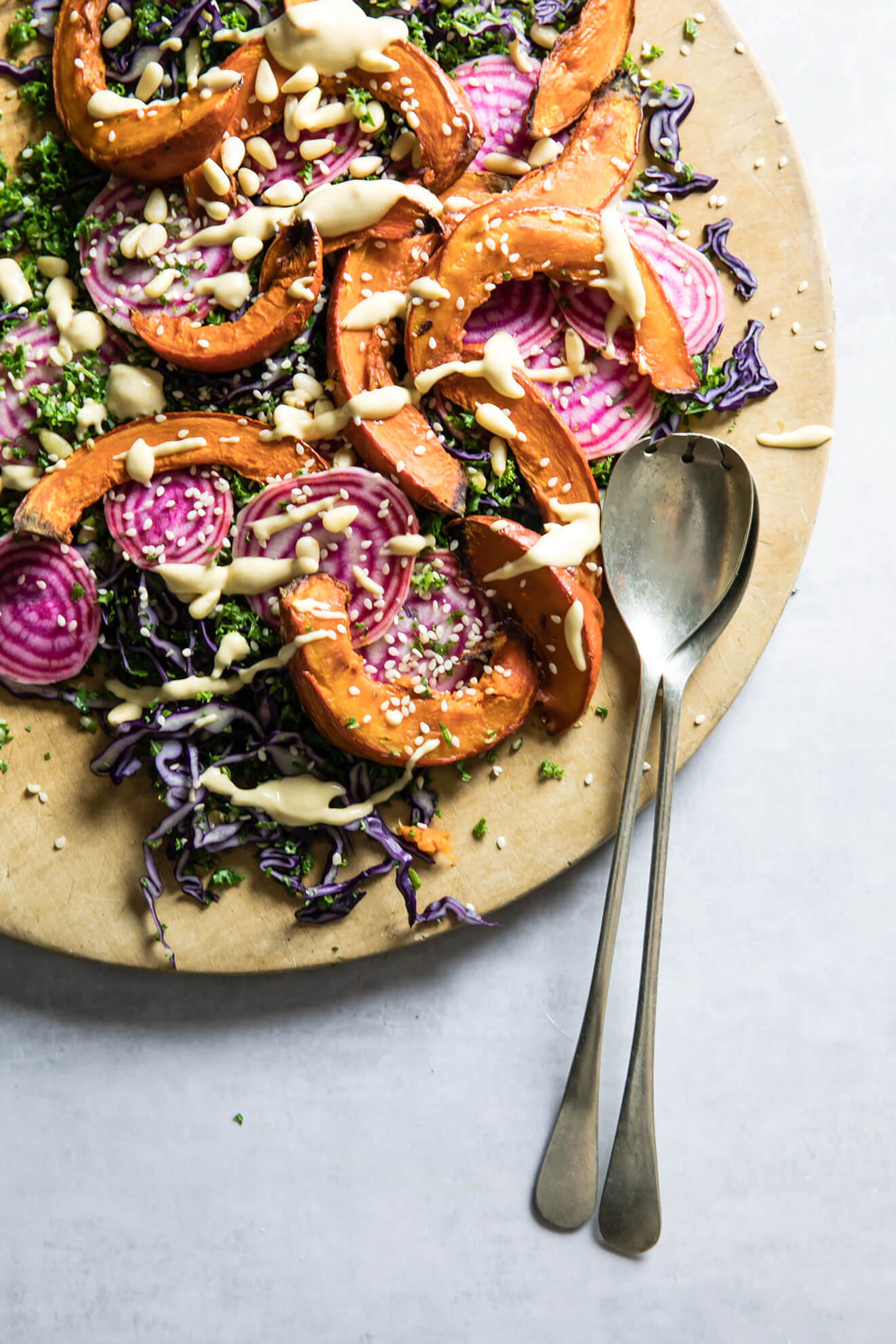 Rainbow Winter Salad with Clementine Tahini Dressing, food photography