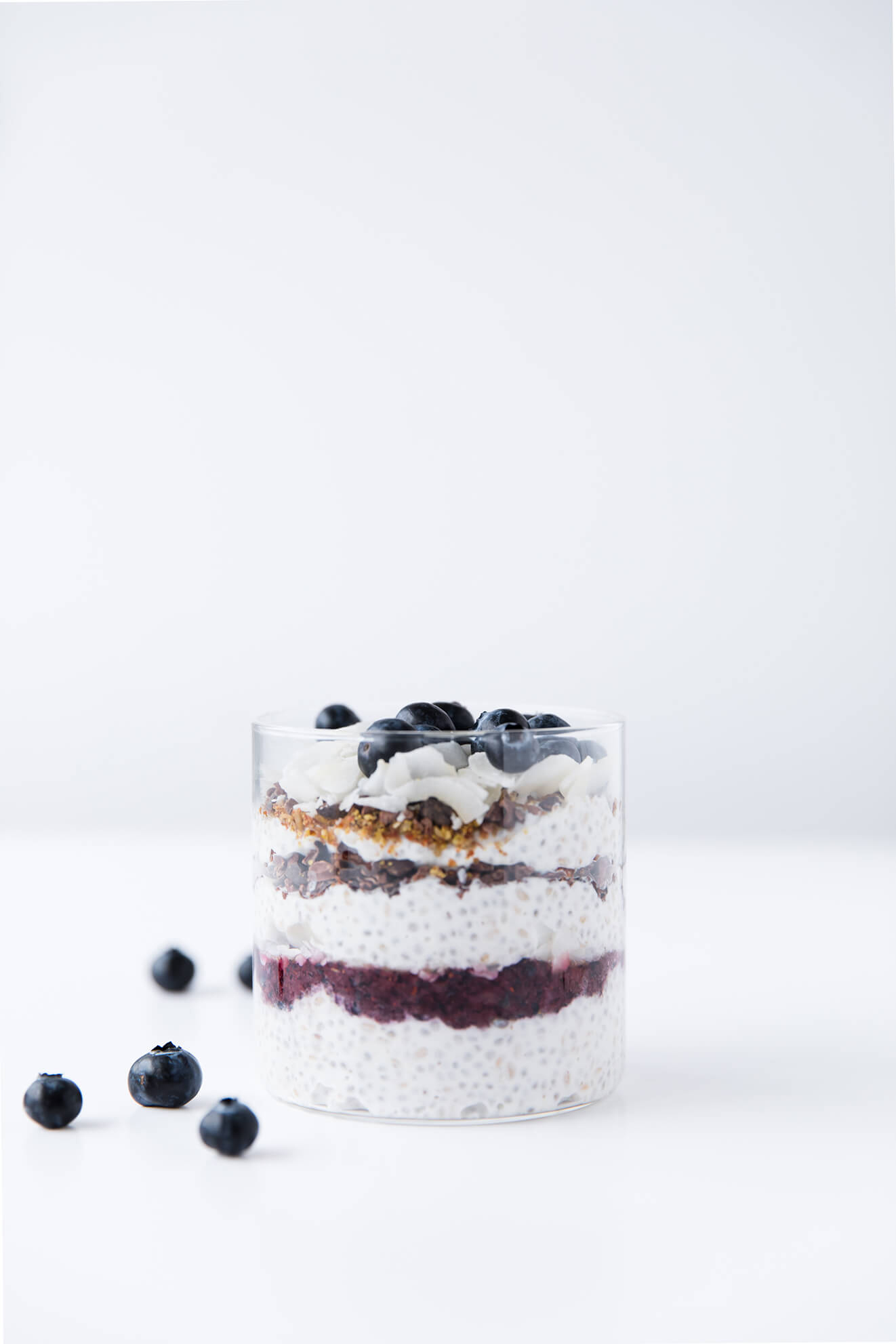 Blueberry Cocontty Chia Parfait, food photography, Modern Food Stories