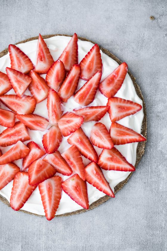 Keto Vegan Strawberry Slice, Modern Food Stories, London Food Photographer, vegan dessert, keto dessert, strawberries and cream