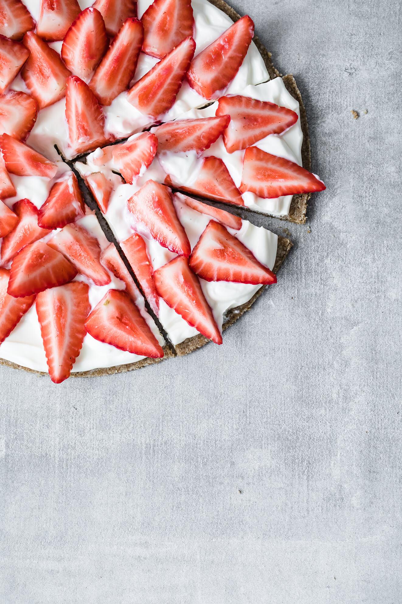 Keto Vegan Strawberry Slice, Modern Food Stories, London Food Photographer, vegan dessert, keto dessert, strawberries and cream