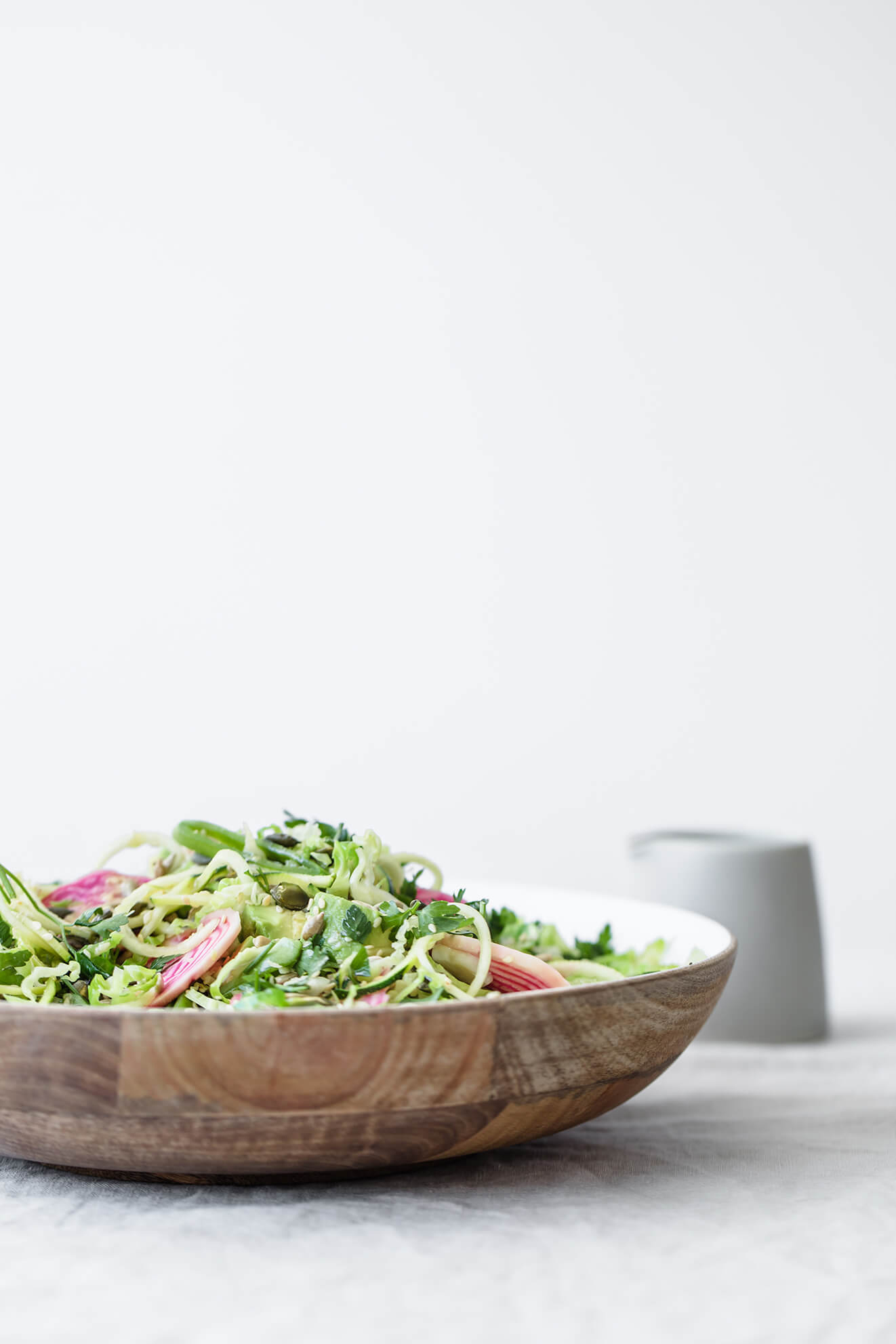 Courgette Noodle and Shredded Sprout Salad, food photography