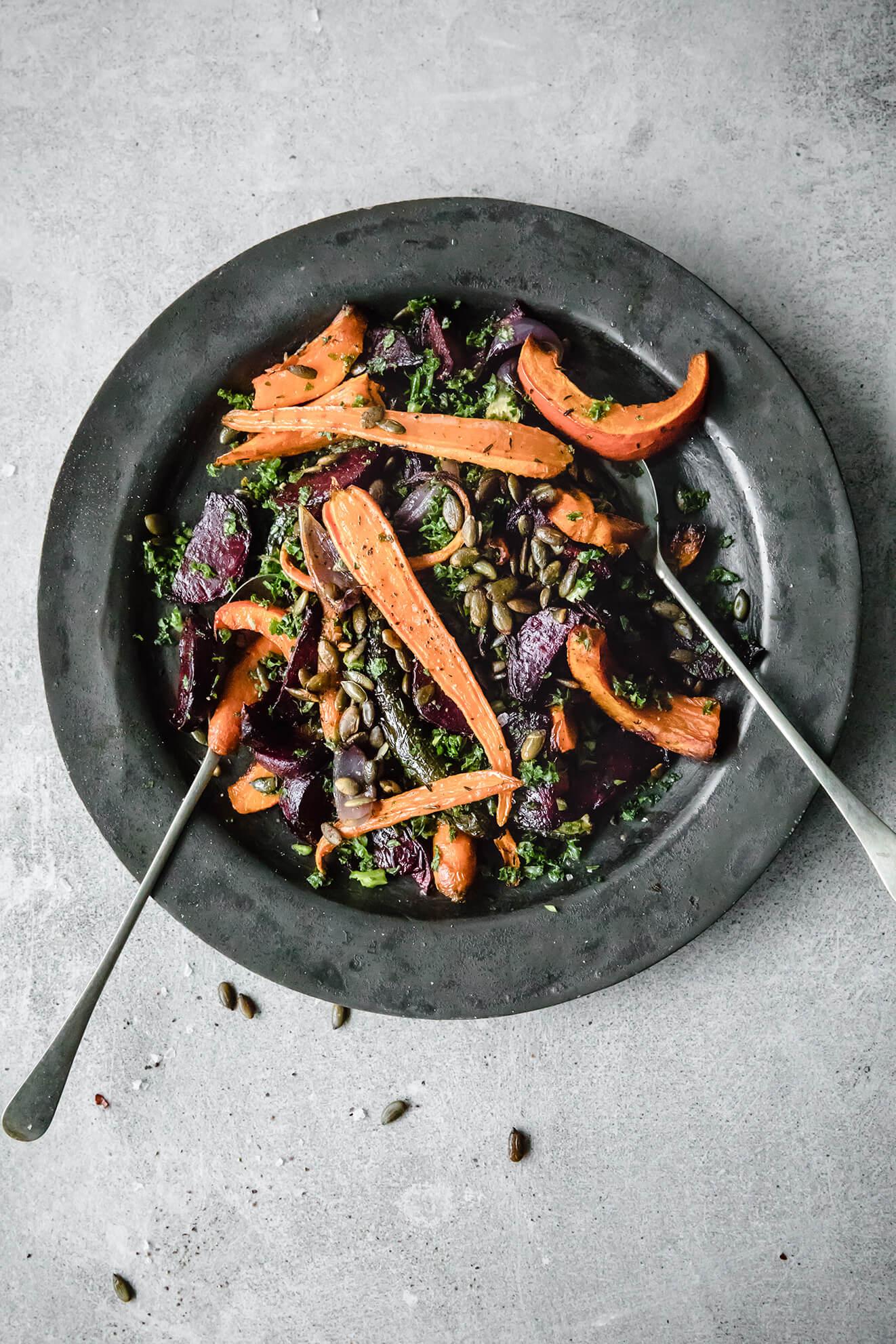 warm winter salad, roasted vegetables, london food photographer, Modern Food Stories