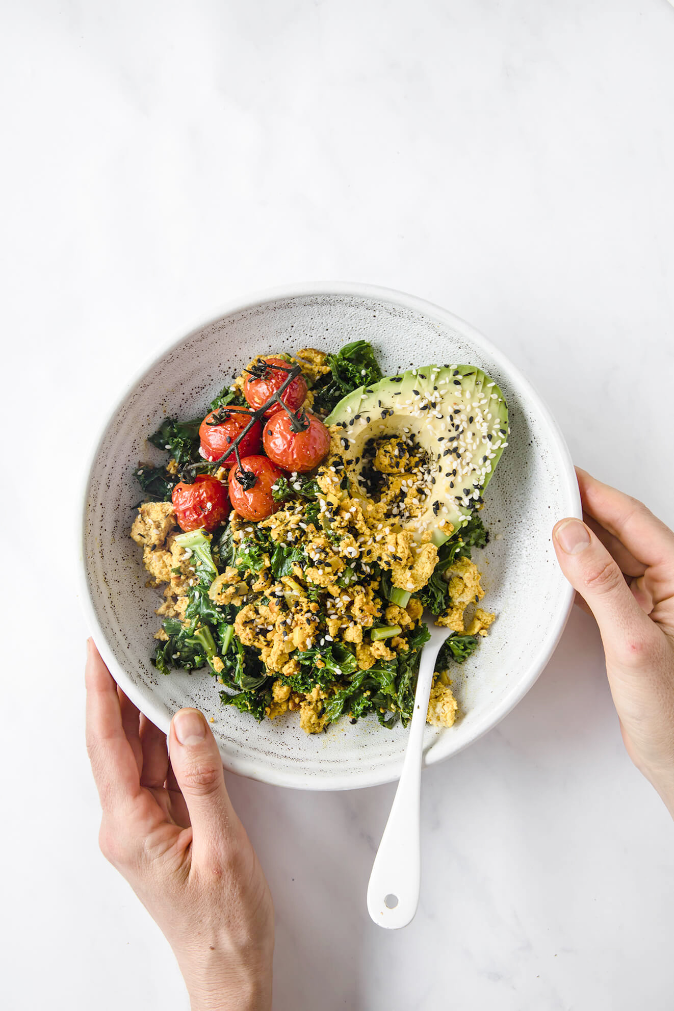 vegan tofu scramble, vegan savoury breakfast bowl