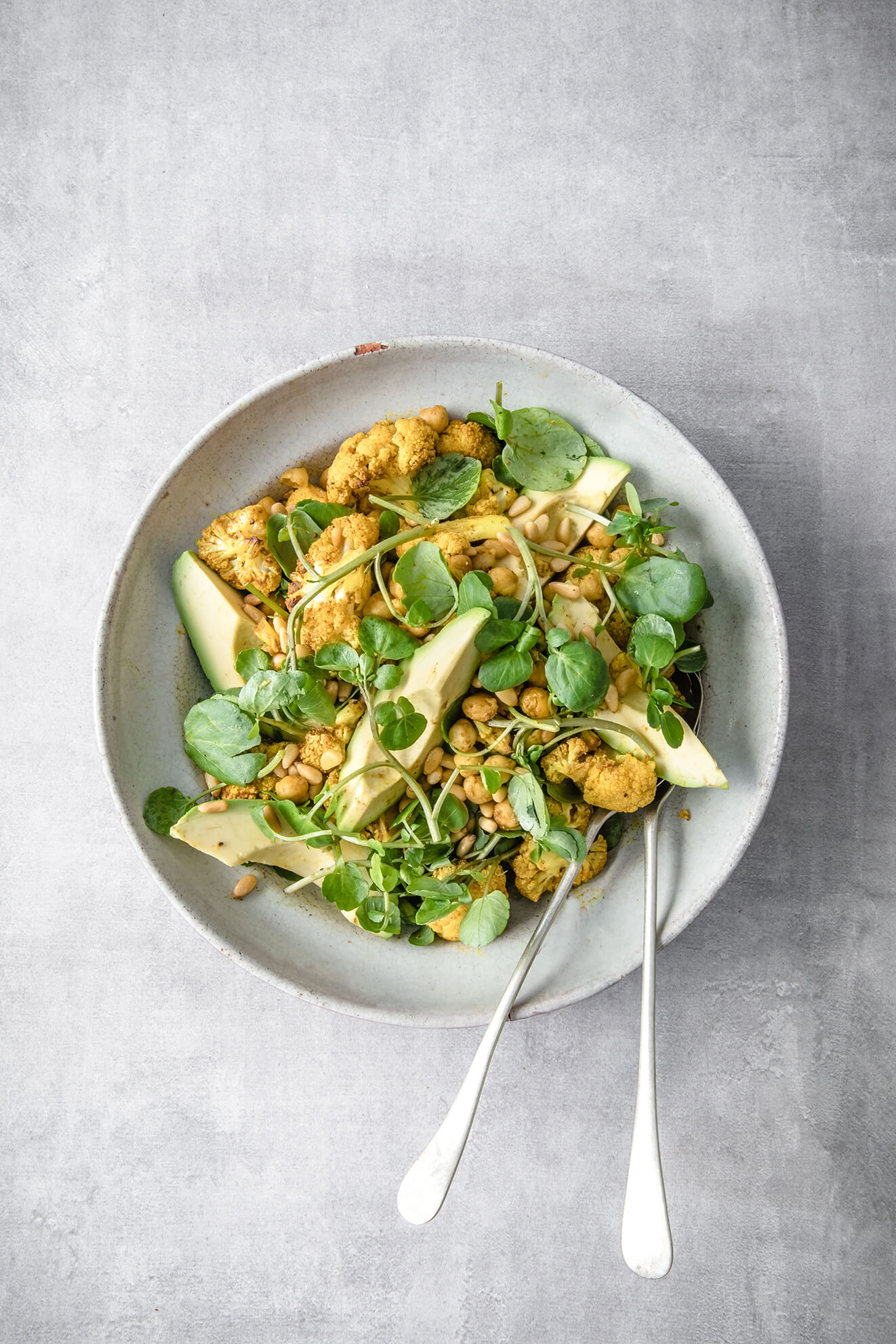 Roasted Cauliflower, Chickpea and Avocado Salad, vegan recipes, Modern Food Stories