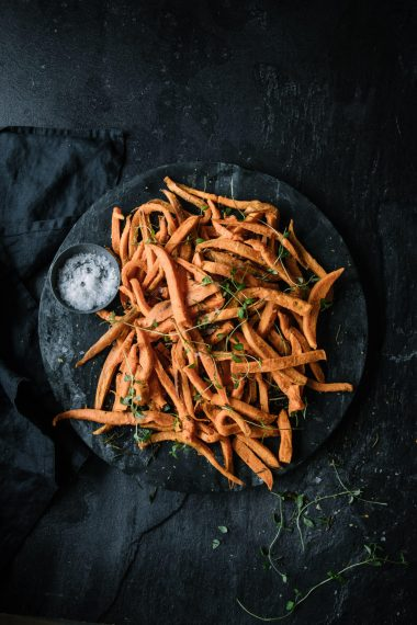 Baked Shoestring Sweet Potato Fries