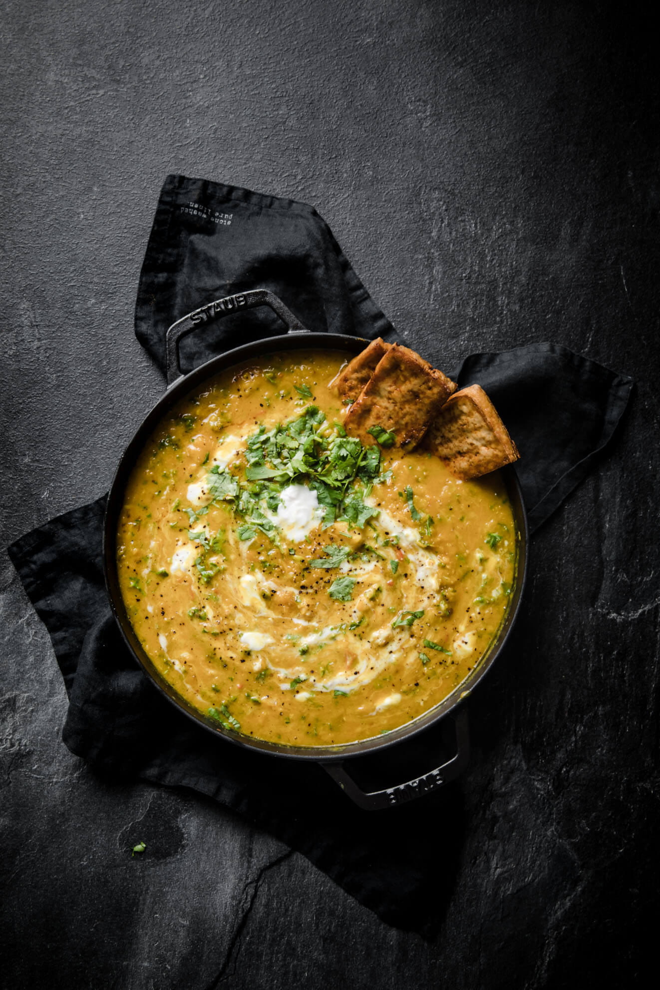 Red Lentil Soup with Tofu Toasts