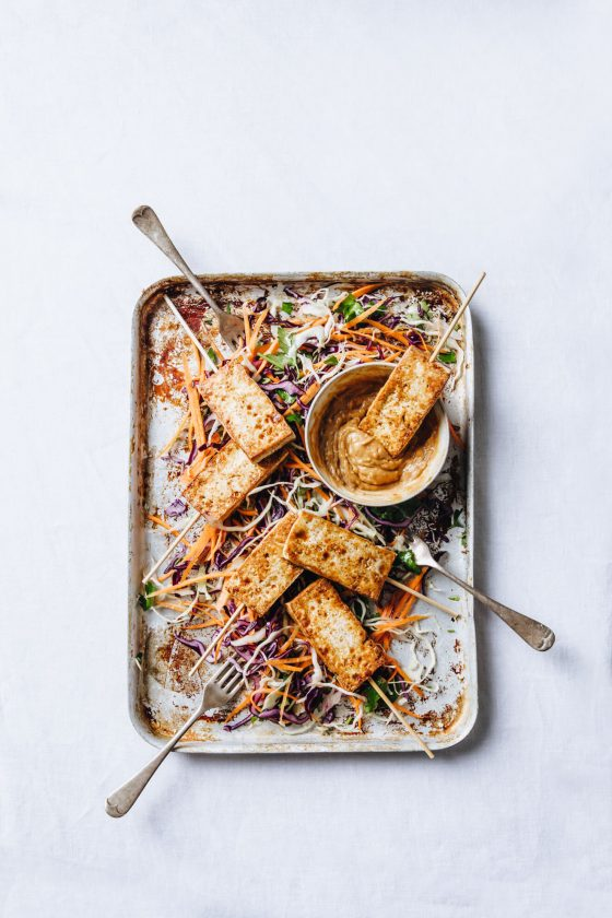 Tofu Satay with Rainbow Slaw