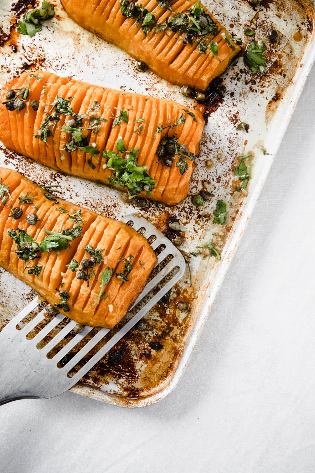 Hasselback Squash with Parsley Caper Gremolata