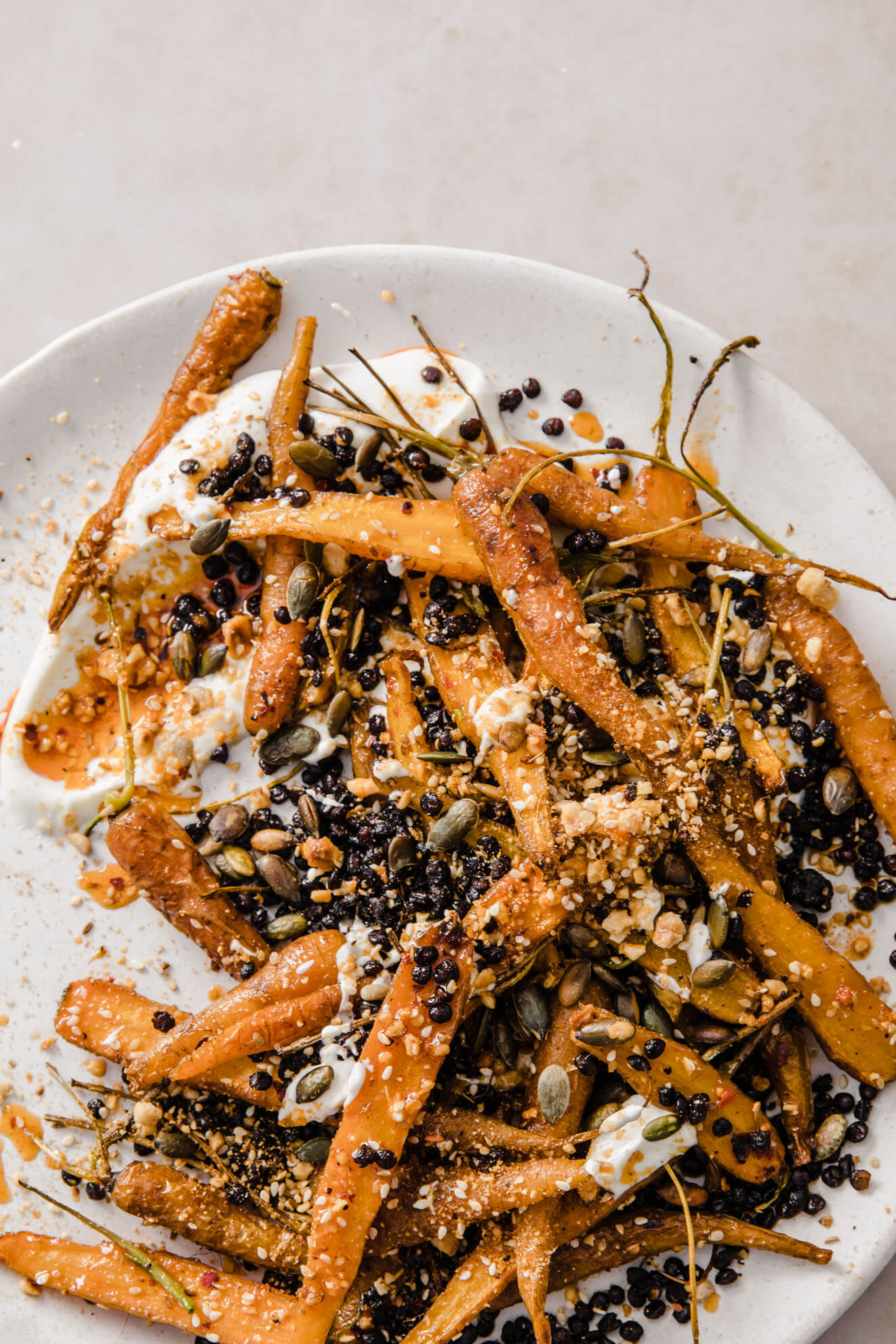 Dukkah Roasted Carrots with Popped Lentils